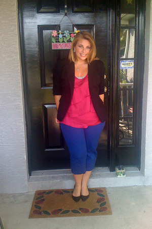 black blazer - hot pink blouse - cobalt blue pants - black heels