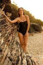 GLAMOROUS LIFE Zircon One Piece Strapless Black Swimsuit, Swimsuit, Bodysuit