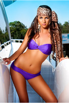 GLAMOROUS LIFE Amethyst Purple Shimmer Twist Front Two Piece Bikini, Swimsuit