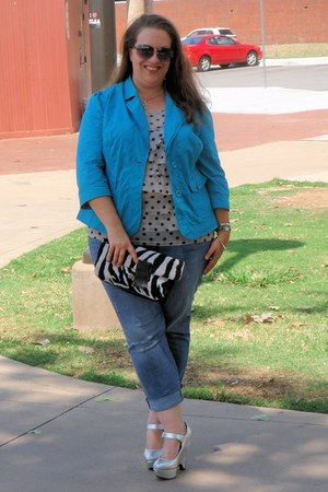 Target blazer - ASOS Curve jeans - Express bag - Steve Madden sunglasses
