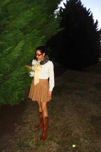 tan asos skirt - brown Jeffrey Campbell boots