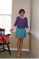 violet Forever 21 cardigan - bubble gum shirt - turquoise blue Jcrew skirt