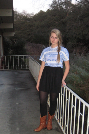 brown Steve Madden boots - black JCrew skirt - blue American Apparel shirt
