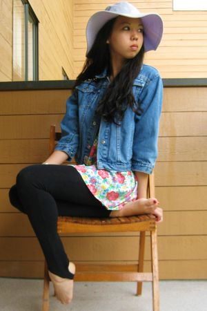 blue vintage from Whistle Vintage jacket - black leggings - pink dress