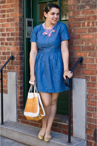 Dana n Nicholas necklace - madewell dress - Thursday Friday bag - Repetto flats