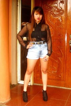 DIY shorts - Gold Dot wedges - SOSI STUFF blouse - Chanel belt - Gold Dot ring -