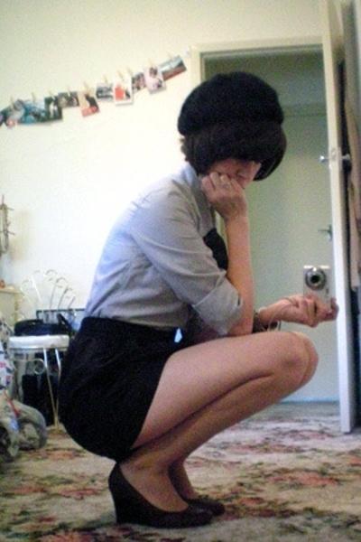 Equip hat - bardot shirt - American Apparel skirt - Scooter shoes - markets brac