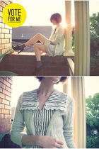 silver french kitty cardigan - white vintage dress - brown Forever 21 socks - bl