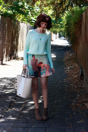 aquamarine scenic print romwe skirt - light brown andreas Topshop boots