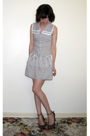 white vintage dress - brown Target shoes - black Chemist accessories
