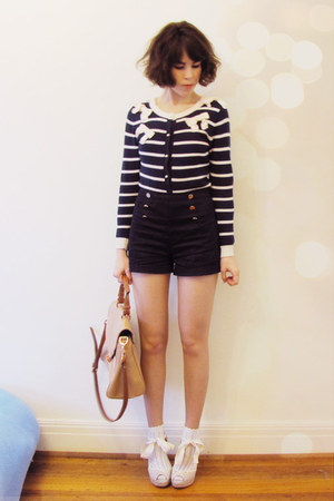 navy Forever New cardigan - nude amalie Witchery bag