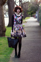 black leather tote Jacki Anderson bag - cherub print romwe dress
