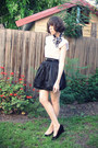 White-button-n-thread-top-black-savers-skirt-navy-markets-scarf-black-rubi