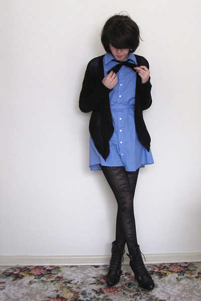 blue shirt dress American Apparel dress - black Ugly Duckling shoes