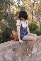 blue denim modcloth romper - brown mini alexa My Leather bag