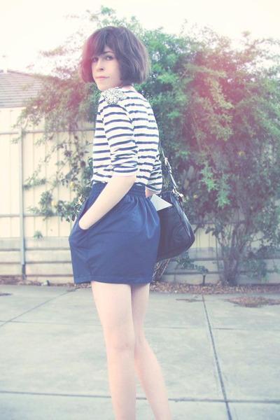 white Dotti top - blue American Apparel skirt - white Steve Madden shoes - black