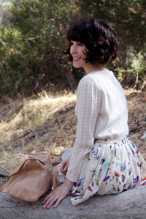 off white bird print Chicwish skirt - off white modcloth sweater