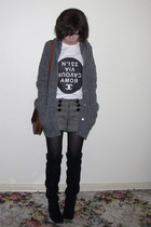 gray Dotti shorts - black Midas shoes - gray Sportsgirl coat