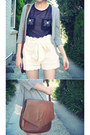 Scalloped-forever-new-shorts-vintage-satchel-ysl-bag
