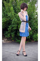 beige chanel inspired Topshop shoes - blue silky slip Dotti dress