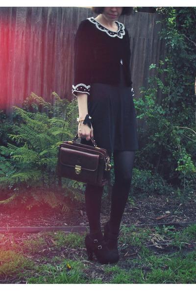black miss patina dress - Forever 21 jacket - black Sportsgirl shoes - brown vin