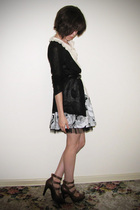 black supre cardigan - white Dotti blouse - white Forever 21 skirt - black vinta