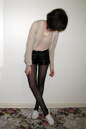 supre jacket - sretsis blouse - Forever 21 shorts - Ebay tights - Steve Madden s