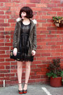 Black-sheer-lace-oasap-dress-army-green-forever-new-coat