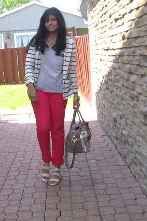 white Forever 21 blazer - tan Aldo bag - hot pink H&M pants