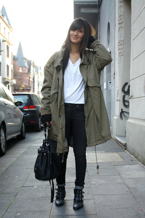 oversize parka weekday coat - studded boots Sacha boots