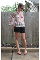 Vintage 70s Boho Indian Print Blouse
