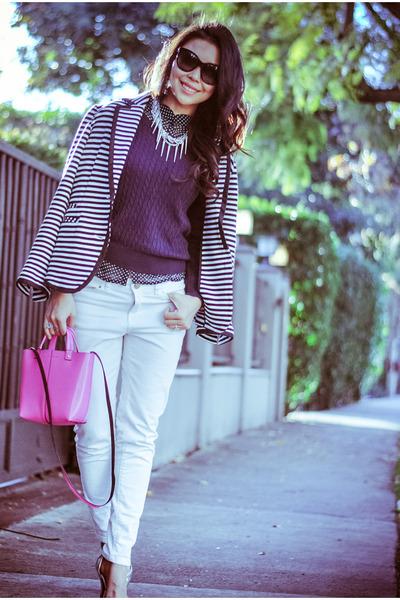 white stripe Spiegel blazer - white white Zara jeans