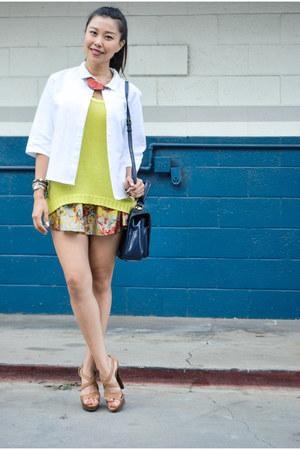 floral print dRA skirt - white white trapeze Kahlo jacket - navy Fendi bag