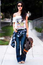 Louis Vuitton bag - navy Lucky Brand jeans - TOMS sunglasses - Junk Food t-shirt