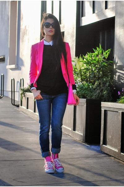 hot pink fitted Zara blazer - navy Lucky Brand jeans