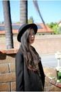 Light-yellow-valerija-dress-black-hat-black-line-dot-blazer