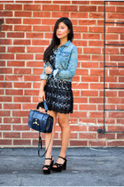 blue Fendi purse - Alice and Olivia dress - sky blue denim rag & bone jacket