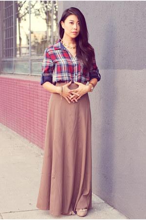 brown Forever21 skirt - magenta Bella Dahl shirt