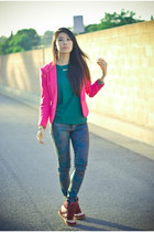hot pink blazer H&M blazer - dark green leather Theory shirt