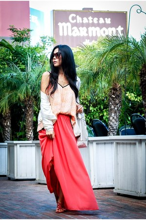 coral maxi skirt Kardashian Kollection skirt - coral flowy Line & Dot shirt