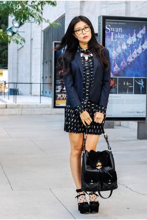 madewell blazer - Reiss bag - Friends and Associates blouse - shopsosie necklace