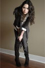 White-shirt-gray-forever-21-cardigan-black-urban-outfitters-tights-black-a