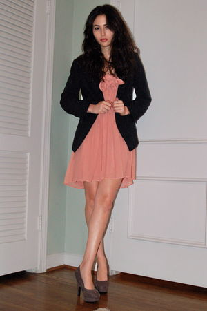 pink JCrew dress - gray Forever 21 shoes - black Charlotte Russe blazer