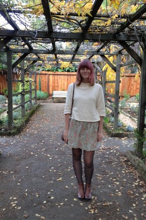 cream thrifted sweater - brown boots - light pink thrifted skirt
