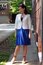 white banana republic blazer - brown Limited blouse - blue Old Navy skirt - oran