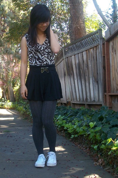 black skirt - charcoal gray tights - ivory sneakers