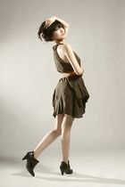 green GOWIGASA dress - brown unbranded belt - brown pull&bear shoes
