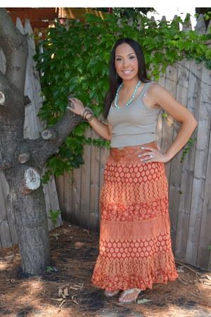 burnt orange maxi skirt DOTS skirt - dark khaki Forever 21 top - beige TJ Maxx s