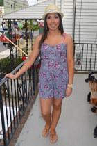 beige Macys hat - camel TJ Maxx sandals - light purple floral TJ Maxx romper