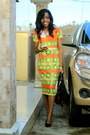 Ankara-dress-konga-bag-beaded-necklace-necklace-material-girl-pumps